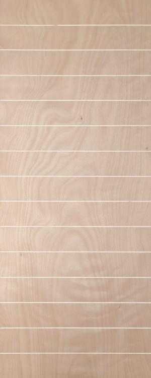 Veneer door with horizontal grroves